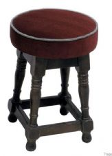 Tudor Low Wooden Upholstered Stool